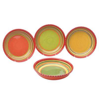 Hot Tamale 9.5 in. Multi-Colored Soup and Pasta Bowl (Set of 4)