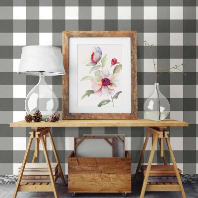 56.4 sq. ft. Selah Black Gingham Wallpaper