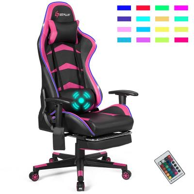Massage LED Gaming Chair Reclining Racing Chair with Lumbar Support and Footrest in Pink