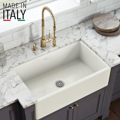 30 inch Fireclay Reversible Farmhouse Apron-Front Kitchen Sink Single Bowl - Biscuit