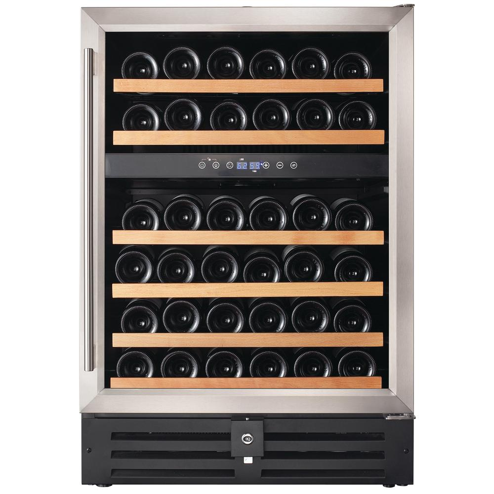 46-Bottle Dual Zone Built in Wine Cooler in Stainless Steel
