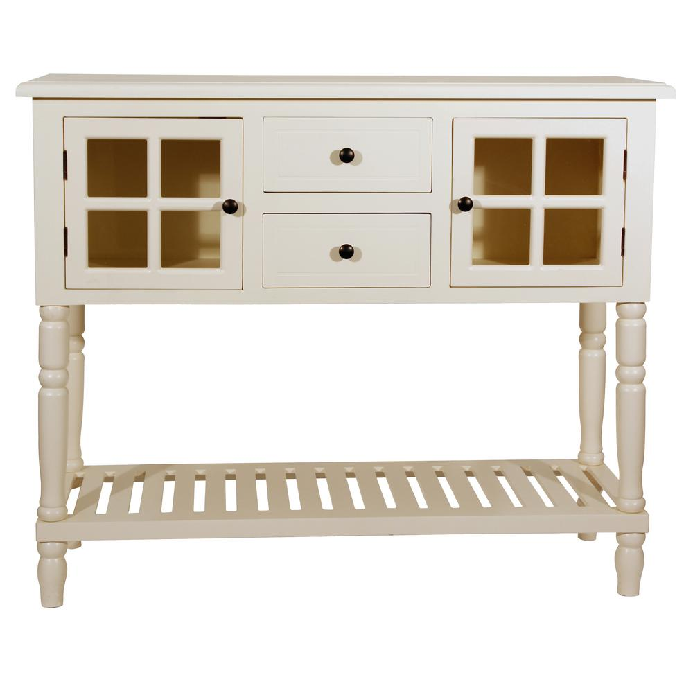 Decor Therapy Morgan Antique Whitel 2 Door Console Table
