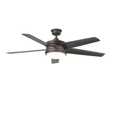 Portwood 60 in. LED Indoor/Outdoor Espresso Bronze Ceiling Fan with Light Kit
