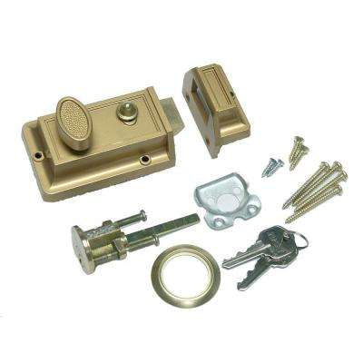 Single Cylinder Bronze Locking Door Night Latch with Holdback Button