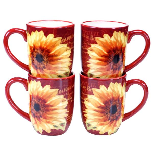 Certified International Paris Sunflower 18 oz. Mug (Set of 4) 25283SET/4