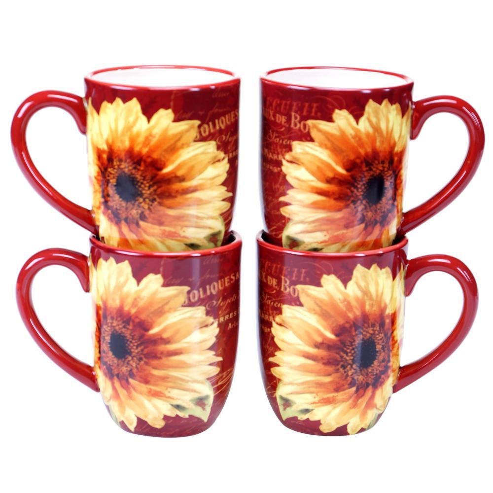 Paris Sunflower 18 oz. Mug (Set of 4) by
