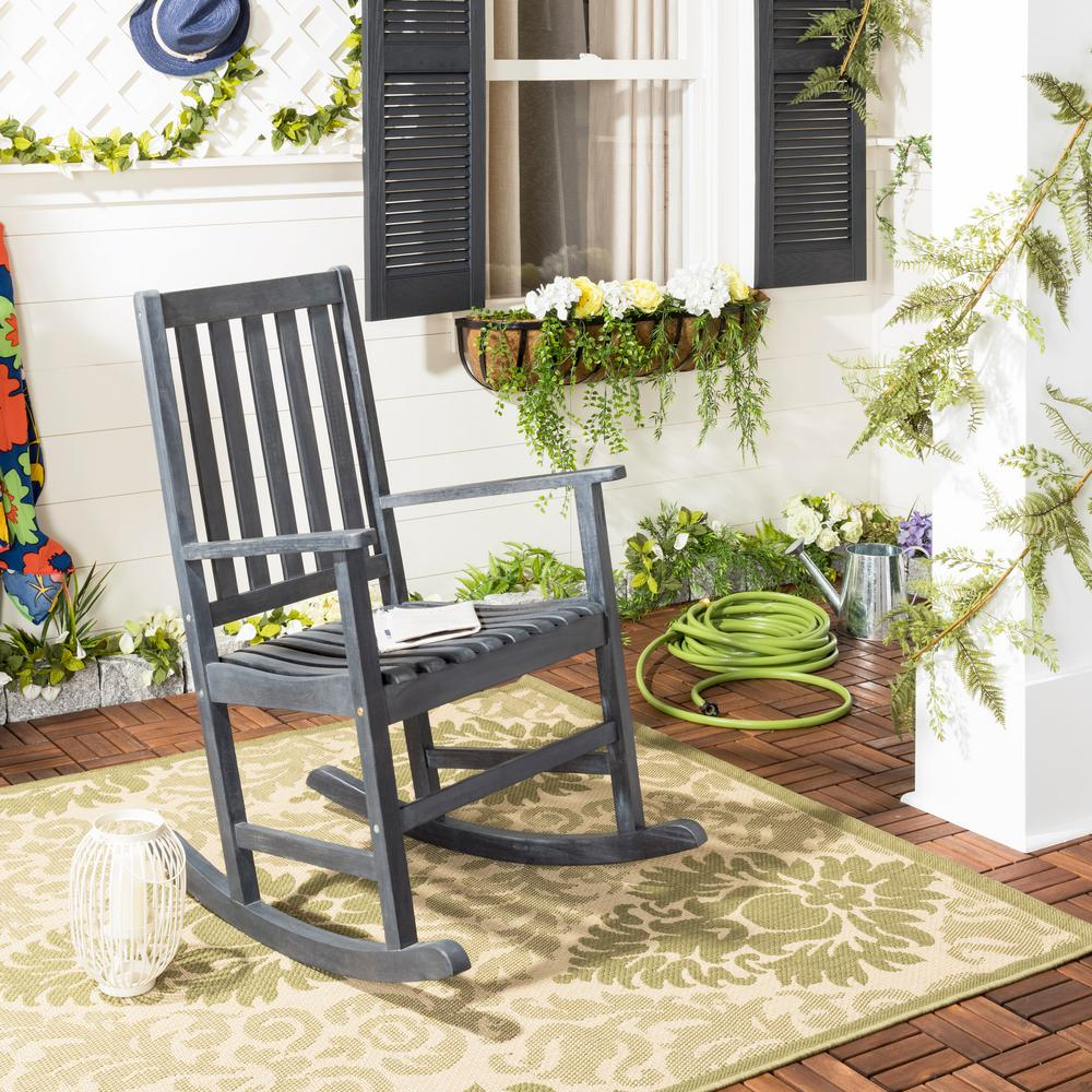 Barstow Dark Slate Gray Wood Outdoor Rocking Chair