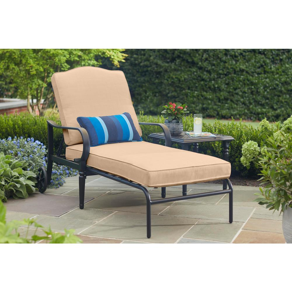 Hampton Bay Laurel Oaks Brown Steel Outdoor Patio Chaise Lounge With Sunbrella Beige Tan Cushions H102 01574700 The Home Depot