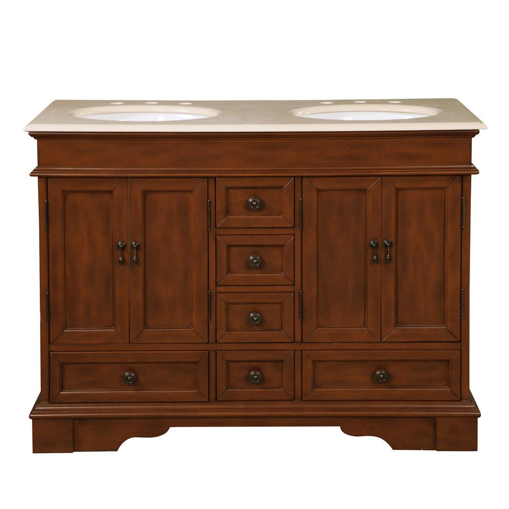 Silkroad Exclusive 48 in. W x 22 in. D Vanity in Brazilian Rosewood with Marble Vanity Top in Crema Marfil with White Basin