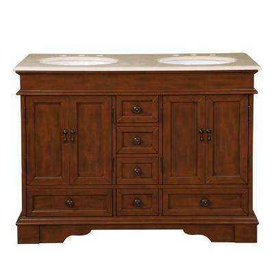 48 in. W x 22 in. D Vanity in Brazilian Rosewood with Marble Vanity Top in Crema Marfil with White Basin