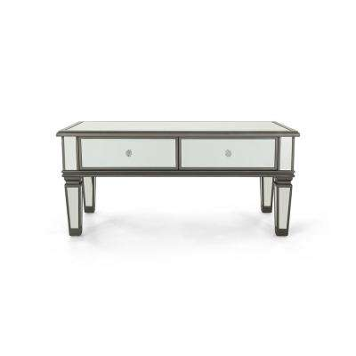 Helvetia Modern Mirrored 2-Drawer Coffee Table with Black Fir Wood Frame