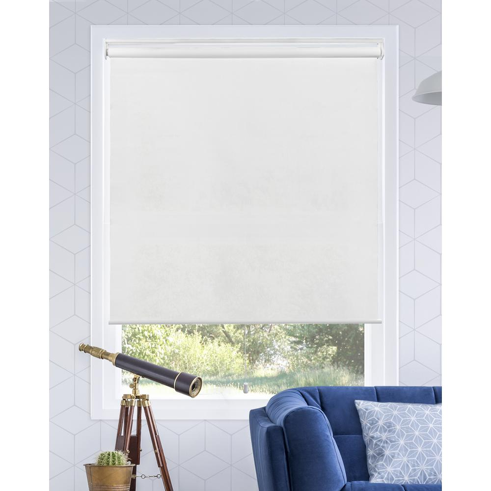 Chicology Snap-N'-Glide Urban White Cordless Light Filtering UV Protection Polyester Roller Shade 31 in. W x 72 in. L