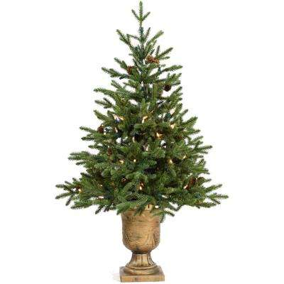 3 ft. Noble Fir Artificial Tree with Metallic Urn Base and Battery-Operated LED String Lights