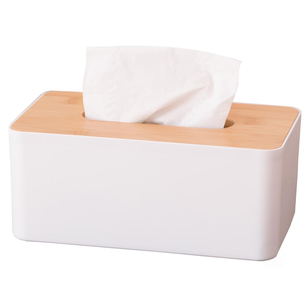 Basicwise Bamboo Removable Top Lid Rectangular Tissue Box