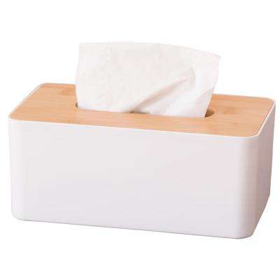 Bamboo Removable Top Lid Rectangular Tissue Box