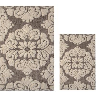 Medallion 2-Piece Beige and Natural 24 in. x 40 in. and 17 in. x 24 in. Cotton Bath Rug