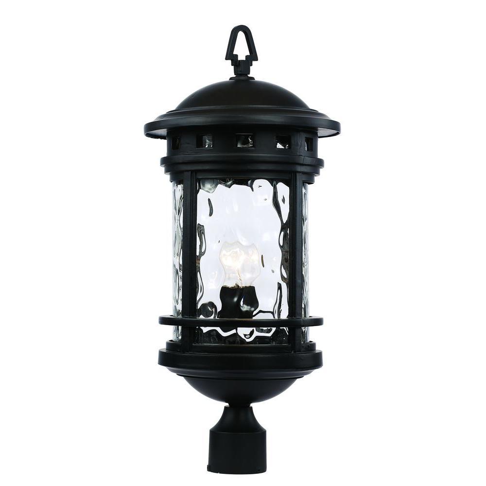 23 in. Chimney Stack Black Post Lantern