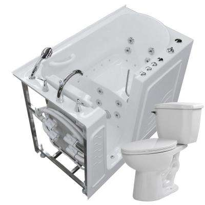 52.75 in. Walk-In Whirlpool and Air Bath Tub in White with 1.28 GPF Single Flush Toilet