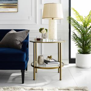 Crosley Furniture Aimee Gold Gl Side Table Cf1309