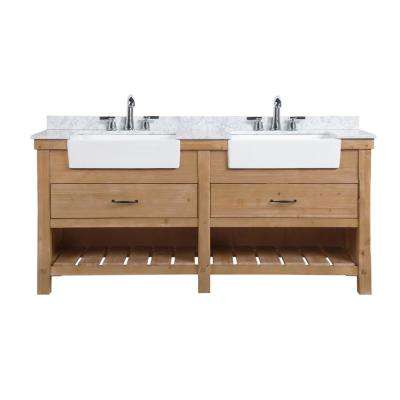 Marina 72 in. Double Bath Vanity in Driftwood with Marble Vanity Top in Carrara White with White Farmhouse Basins