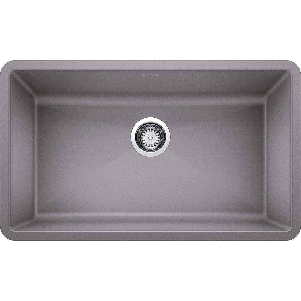 PRECIS Undermount Granite Composite 32 in. Single Bowl Kitchen Sink in Metallic Gray