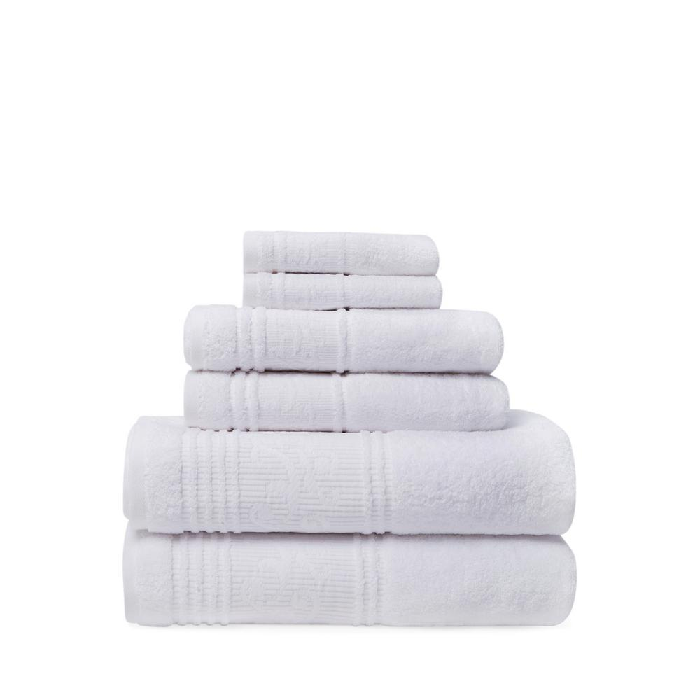 Leila 6-Piece 100% Turkish Cotton Bath Towel Set in White