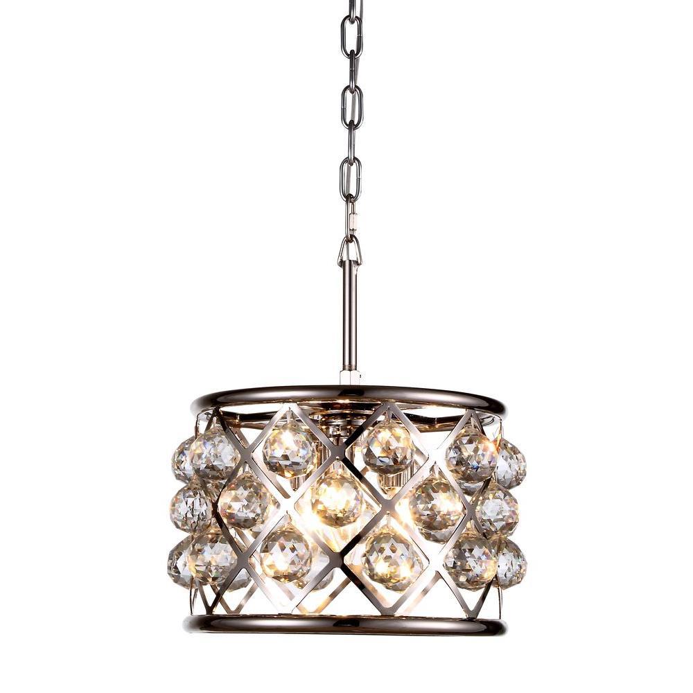 Elegant Lighting Madison 3 Light Polished Nickel Royal Cut Crystal Clear Pendant