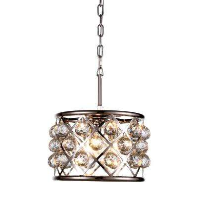 Madison 3-Light Polished Nickel Royal Cut Crystal Clear Pendant