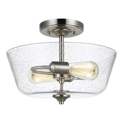 Belton 2-Light Brushed Nickel Semi-Flush Mount