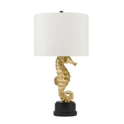 Cresswell 32 in. Gold Leaf and Black Coastal Seahorse Table Lamp and LED Bulb