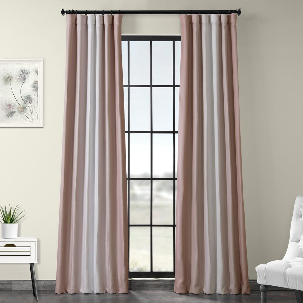 Exclusive Fabrics & Furnishings Parallel Pink Printed Linen Textured Blackout Curtain - 50 in. W x 120 in. L (1-Panel)