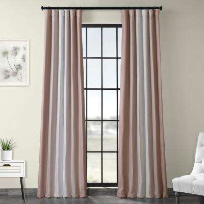 Parallel Pink Printed Linen Textured Blackout Curtain - 50 in. W x 120 in. L (1-Panel)