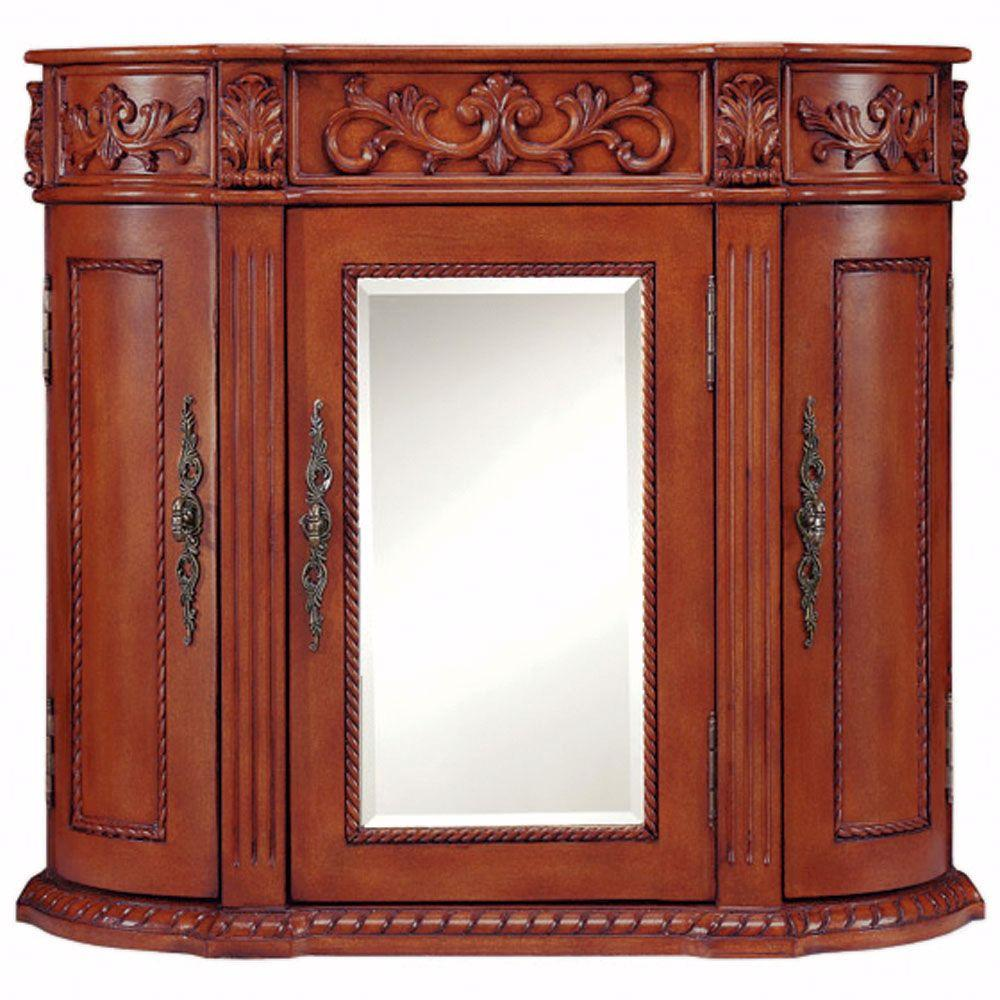 Home Decorators Collection Chelsea 28 in. H x 28 in. W Triple Wall Cabinet 3 Doors in Antique Cherry