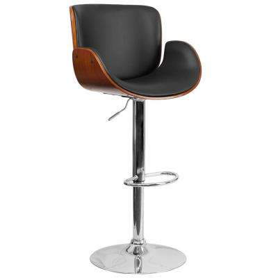 Bentwood 33 in. Adjustable Height Black and Walnut Cushioned Bar Stool
