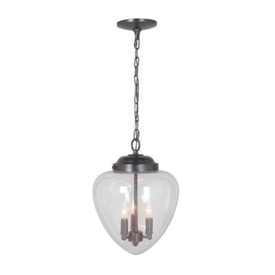 Hardwired Pendant Series 3-Lights Brushed Bronze Mini Chandelier with Clear Shade