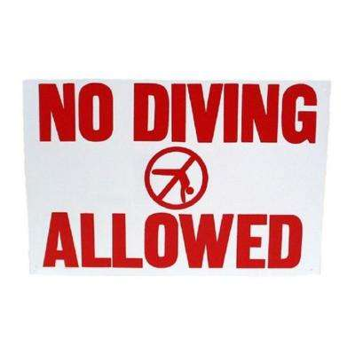 18 in. x 12 in. Rainbow No Diving Allowed Sign