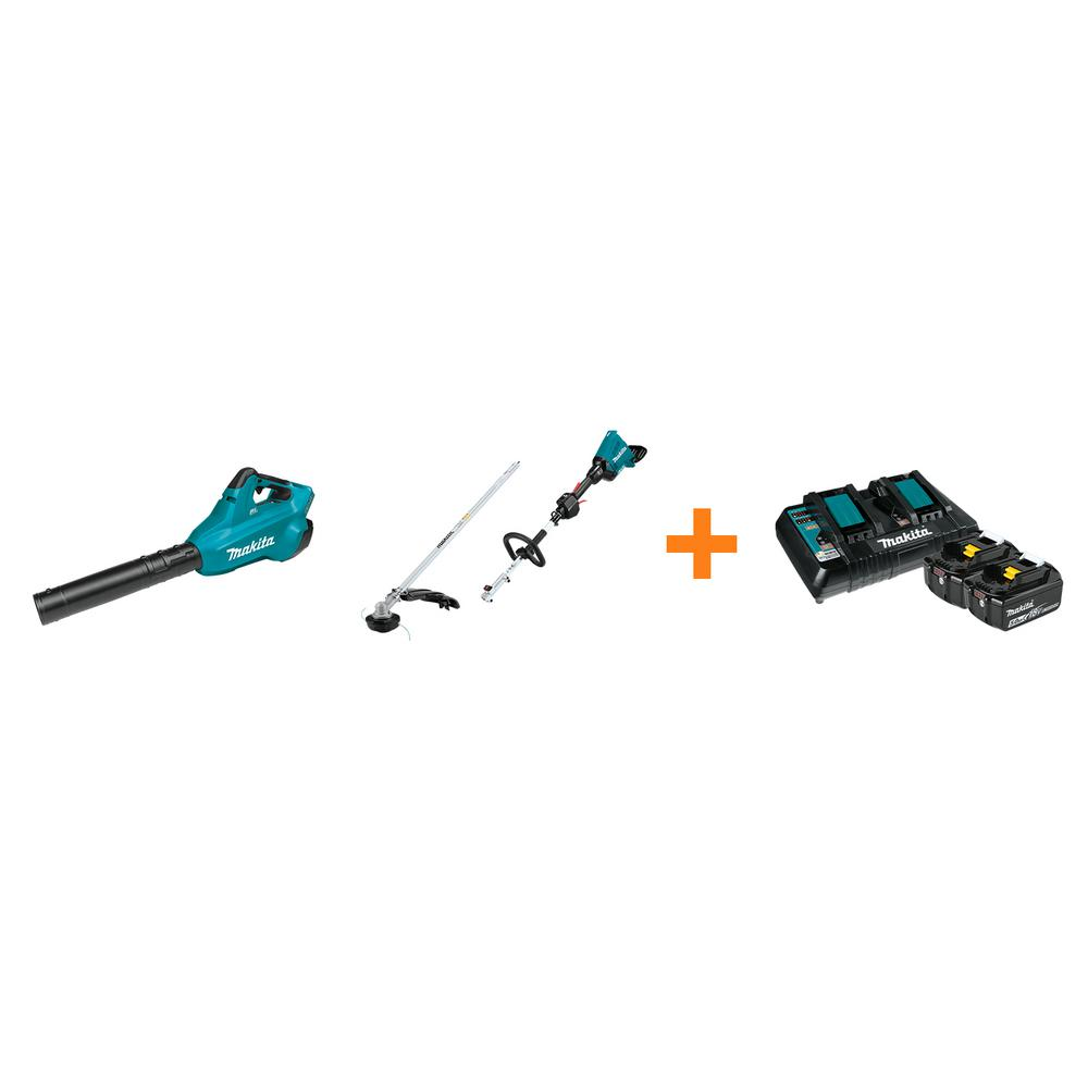 Makita 18V X2 LXT Blower and 18V X2 LXT Couple Shaft Power Head with String Trimmer Attachment with bonus 18V LXT Starter Pack was $797.95 now $528.0 (34.0% off)