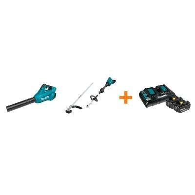 18V X2 LXT Blower and 18V X2 LXT Couple Shaft Power Head with String Trimmer Attachment with bonus 18V LXT Starter Pack
