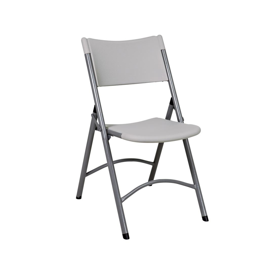 Office Star Products Light Gray Resin Seat Outdoor Safe Folding Chair (Set of 4)