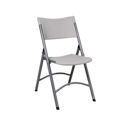 Light Gray Resin Seat Outdoor Safe Folding Chair (Set of 4)