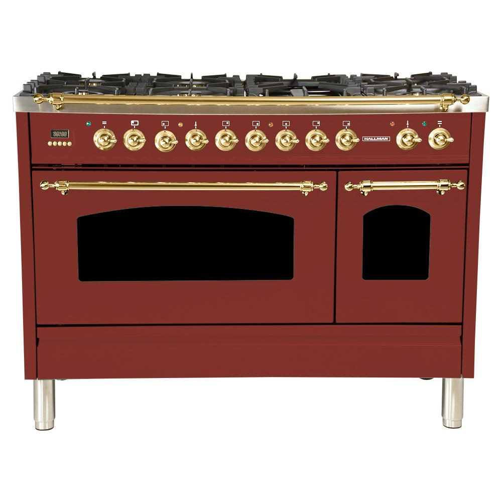Hallman 48 in. 5.0 cu. ft. Double Oven Dual Fuel Italian Range with True Convection, 7 Burners, Griddle, Brass Trim in Burgundy