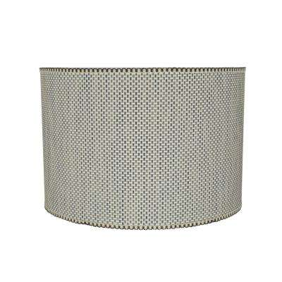 16 in. x 11 in. Multicolor and Weaved Pattern Drum/Cylinder Lamp Shade