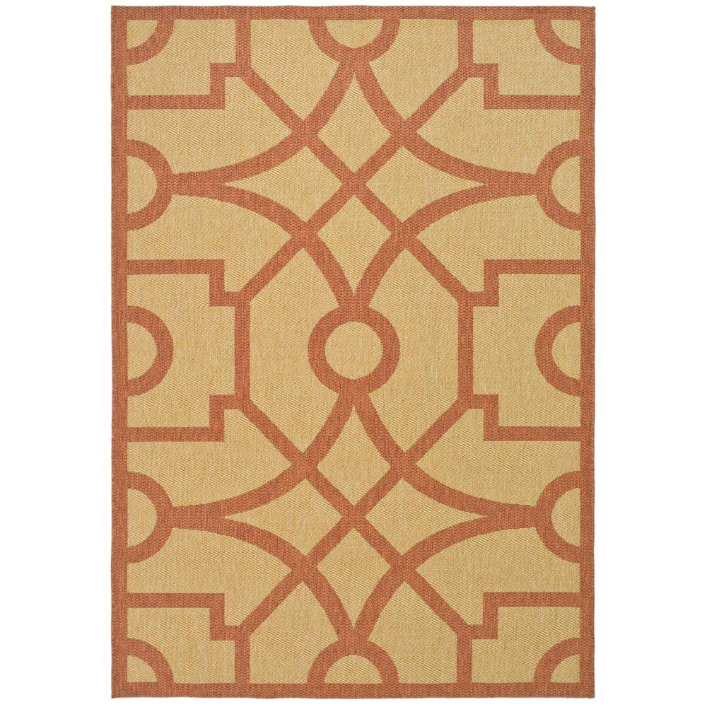 Martha Stewart Living Fretwork Beige/Terracotta 5 ft. 3 in. x 7 ft. 7 in. Area Rug