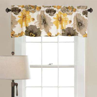Leah 18 in. x 52 in. with 2 in. Header 100% Polyester Valance in Yellow