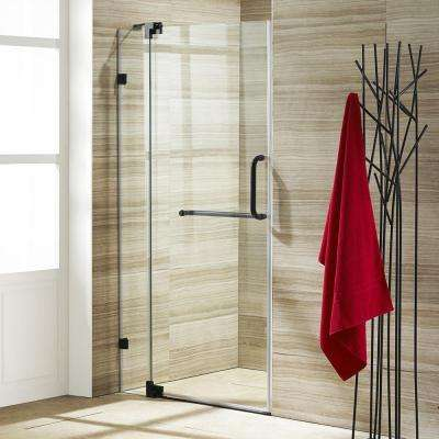 Pirouette 42 in. x 72 in. Frameless Pivot Shower Door with Hardware in Antique Rubbed Bronze and 3/8 in. Clear Glass