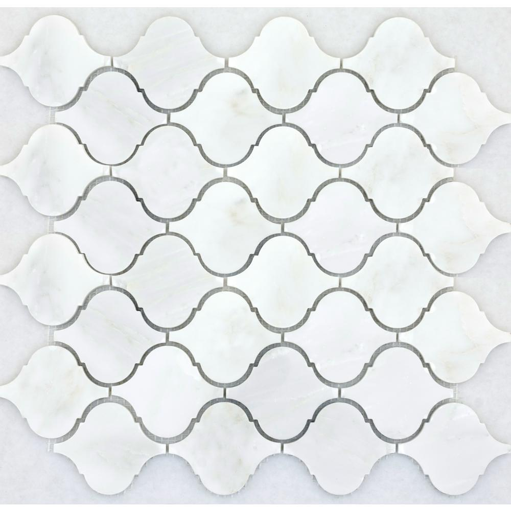Winter Frost Lantern 12 in. x 12 in. Marble Mesh-Mounted Mosaic