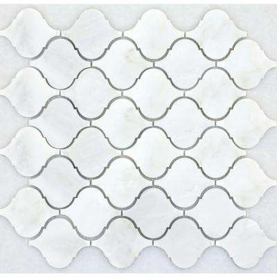 Winter Frost Lantern 12 in. x 12 in. Marble Mesh-Mounted Mosaic Floor or Wall Tile (9.7 sq. ft. / case)