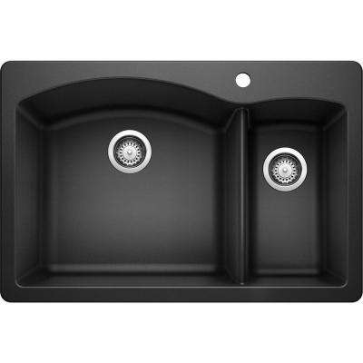 DIAMOND Dual Mount Granite Composite 33 in. 1-Hole 70/30 Double Bowl Kitchen Sink in Anthracite
