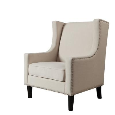 Awe Inspiring Nailhead Trim Wingback Chair Beige Accent Chairs Unemploymentrelief Wooden Chair Designs For Living Room Unemploymentrelieforg