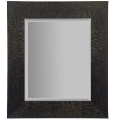 Woodgrain Framed Beveled Rectangular Black and Bronze Decorative Mirror
